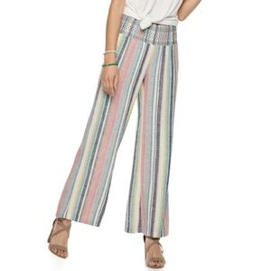 SO Colorful Stripe Linen Flowy High-rise Pants